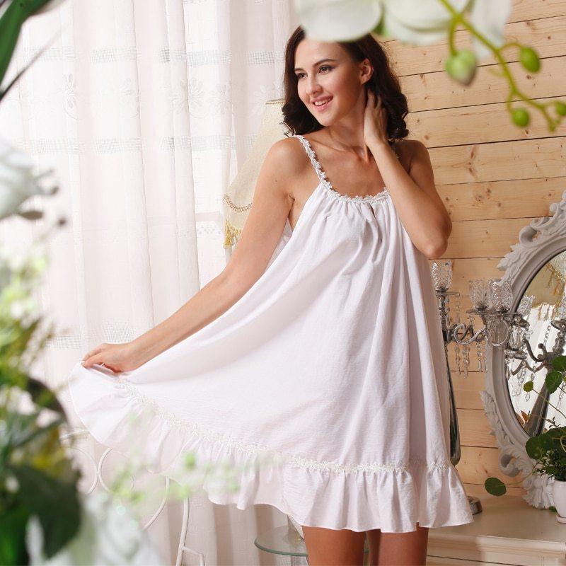 Cotton-Nightgown-Princess-Women-Plus-Size-White-Cotton-Sleeveless-Nightgown-Summer-Sunflower-Ruffle-Sleep-Dress