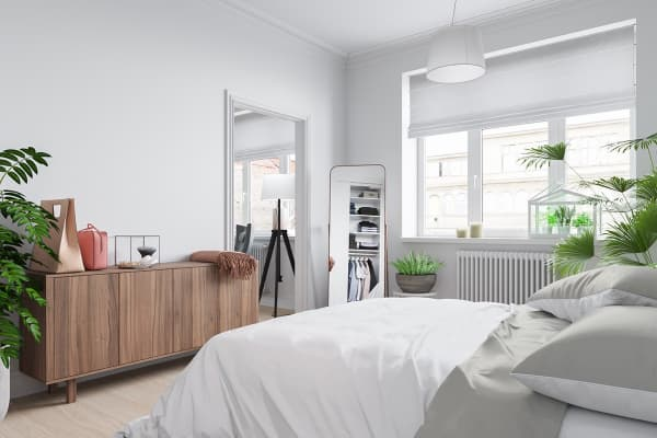 scandinavian bedroom with mirror