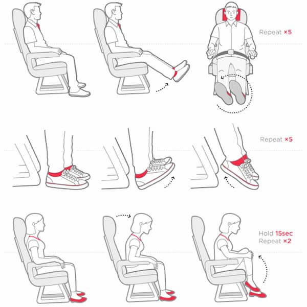 how to do exercises in airplane seat