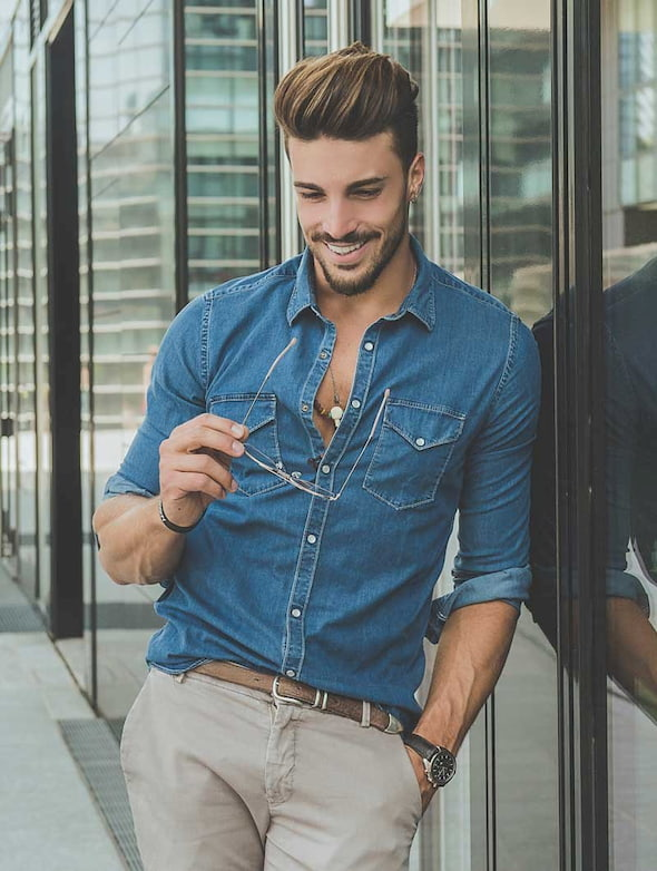 blue denim shirt outfit