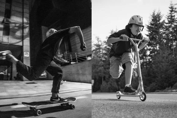 Scooter vs skateboard